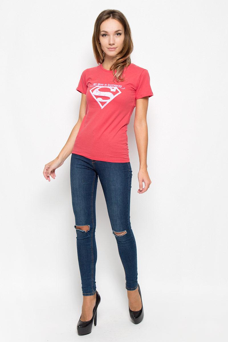 Футболка женская RHS Superman, цвет: красный. 44425. Размер M (46)44425Женская футболка RHS Superman, выполненная из натурального хлопка, поможет создать отличный современный образ в стиле Casual. Футболка с круглым вырезом горловины и короткими рукавами. Модель оформлена принтом в виде знака супермена и надписями на английском языке.Такая футболка станет стильным дополнением к вашему гардеробу, она подарит вам комфорт в течение всего дня!
