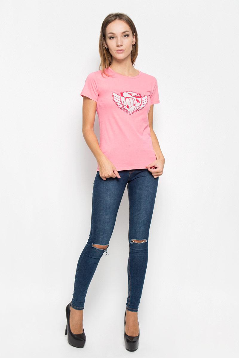 Футболка женская RHS Disney Donald Duck, цвет: розовый. 44395. Размер L (48)44395Женская футболка RHS Disney Donald Duck, выполненная из натурального хлопка, поможет создать отличный современный образ в стиле Casual. Футболка с круглым вырезом горловины и короткими рукавами. Модель оформлена принтом в виде Донольда Дака.Такая футболка станет стильным дополнением к вашему гардеробу, она подарит вам комфорт в течение всего дня!
