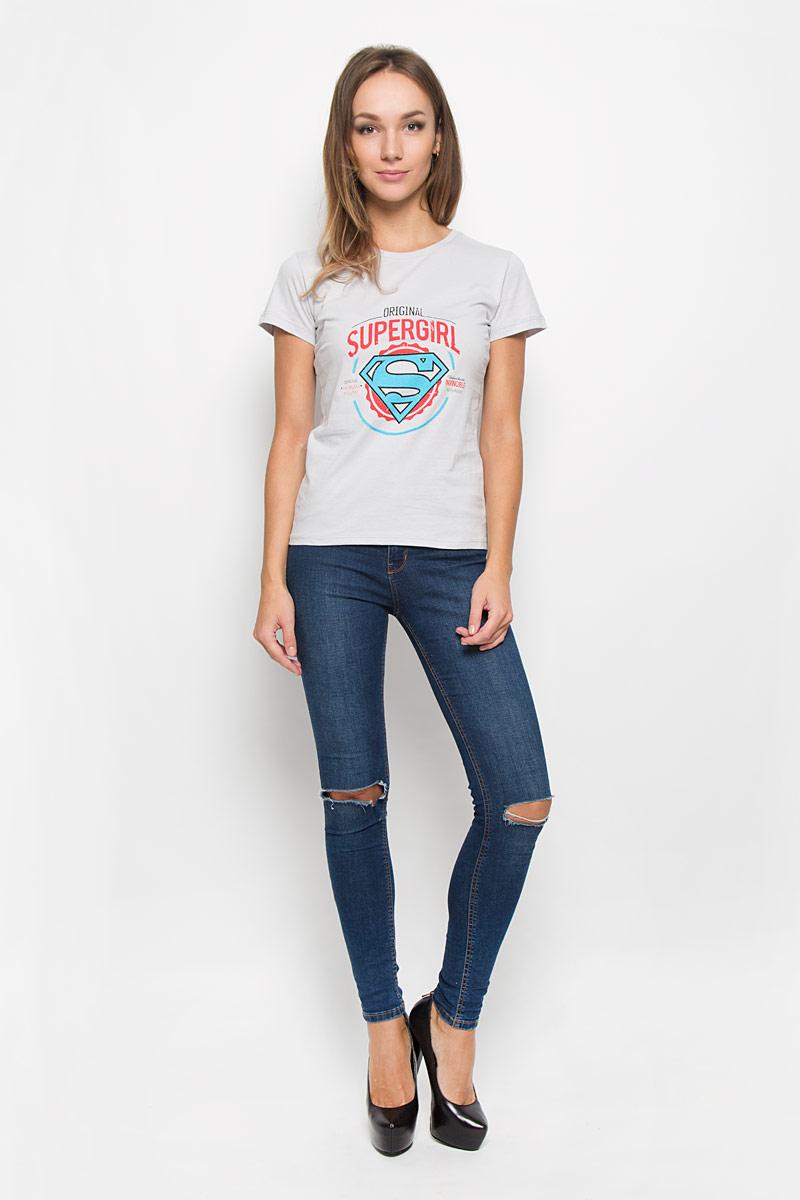 Футболка женская RHS Superman, цвет: светло-серый. 44732. Размер S (44)44732Стильная женская футболка RHS Superman, выполненная из натурального хлопка, поможет создать отличный современный образ в стиле Casual. Футболка с круглым вырезом горловины и короткими рукавами. Модель оформлена термоаппликацией в виде знака супермена и принтовыми надписями на английском языке.Такая футболка станет стильным дополнением к вашему гардеробу, она подарит вам комфорт в течение всего дня!