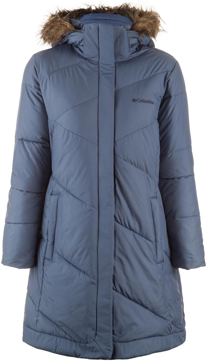 Пальто женское Columbia Snow Eclipse, цвет: синий. 1557371-508. Размер XS (42)1557371-508Теплое женское пальто станет отличным вариантом для путешествий и долгих прогулок в зимний период.Водоотталкивающая ткань защищает куртку от грязи и мокрого снега.В качестве утеплителя использован легкий искусственный пух.Регулируемый капюшон, отделанный искусственным мехом, и внутренние эластичные манжеты служат дополнительной защитой от холода.Два удобных боковых кармана и один внутри куртки.Рекомендуемый температурный режим для данной модели до -15° С, исходя из расчета на среднюю физическую активность - ходьбу 4 км/ч.