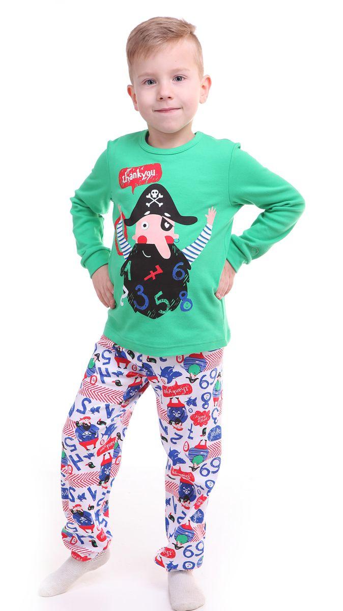 Пижама для мальчика Свiтанак, цвет: зеленый. Р218495. Размер 92/98Р218495Красочная пижама для мальчика Свiтанак состоит из лонгслива и брюк и оформлена забавным принтом с пиратами. Пижама изготовлена из натурального хлопка, она мягкая, приятная на ощупь, не сковывает движения, не сдавливает в области резинки и не натирает в области швов. Воротник лонгслива дополнен мягкой эластичной бейкой. Брюки имеют мягкую, эластичную резинку, которая не оставляет следов на коже и не стягивает живот ребенка. Рукава лонгслива и низ брючин дополнены мягкими трикотажными резинками.Пижама с ярким и современным дизайном прекрасно дополнит гардероб вашего ребенка.