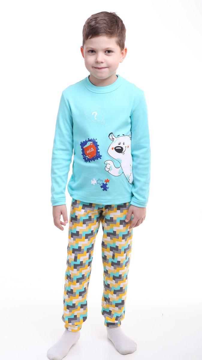 Пижама для мальчика Свiтанак, цвет: голубой. Р218440. Размер 110/116Р218440Красочная пижама для мальчика Свiтанак состоит из лонгслива и брюк и оформлена забавным принтом. Пижама изготовлена из натурального хлопка, она мягкая, приятная на ощупь, не сковывает движения, не сдавливает в области резинки и не натирает в области швов. Воротник лонгслива и низ брючин дополнены мягкими трикотажными резинками. Брюки имеют мягкую, эластичную резинку, которая не оставляет следов на коже и не стягивает живот ребенка. Пижама с ярким и современным дизайном прекрасно дополнит гардероб вашего ребенка.