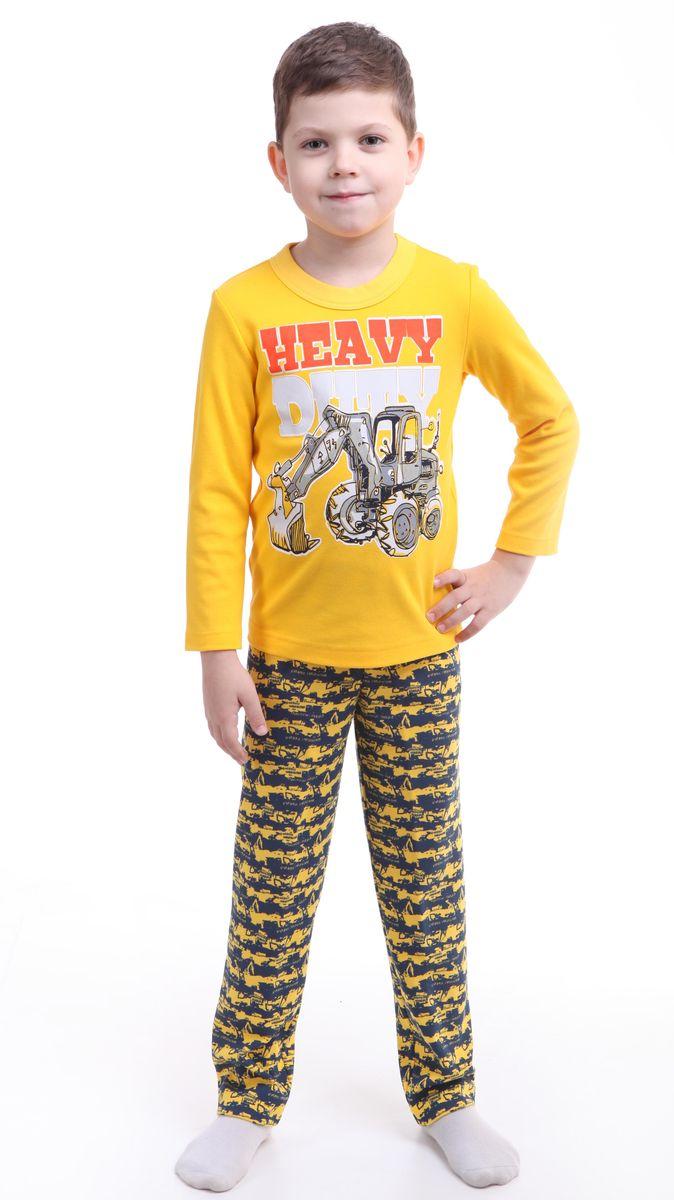 Пижама для мальчика Свiтанак, цвет: желтый. Р218467. Размер 92/98Р218467Красочная пижама для мальчика Свiтанак состоит из лонгслива и брюк и оформлена забавным принтом. Пижама изготовлена из натурального хлопка, она мягкая, приятная на ощупь, не сковывает движения, не сдавливает в области резинки и не натирает в области швов. Воротник лонгслива дополнен широкой эластичной бейкой. Брюки имеют мягкую, эластичную резинку, которая не оставляет следов на коже и не стягивает живот ребенка. Пижама с ярким и современным дизайном прекрасно дополнит гардероб вашего ребенка.