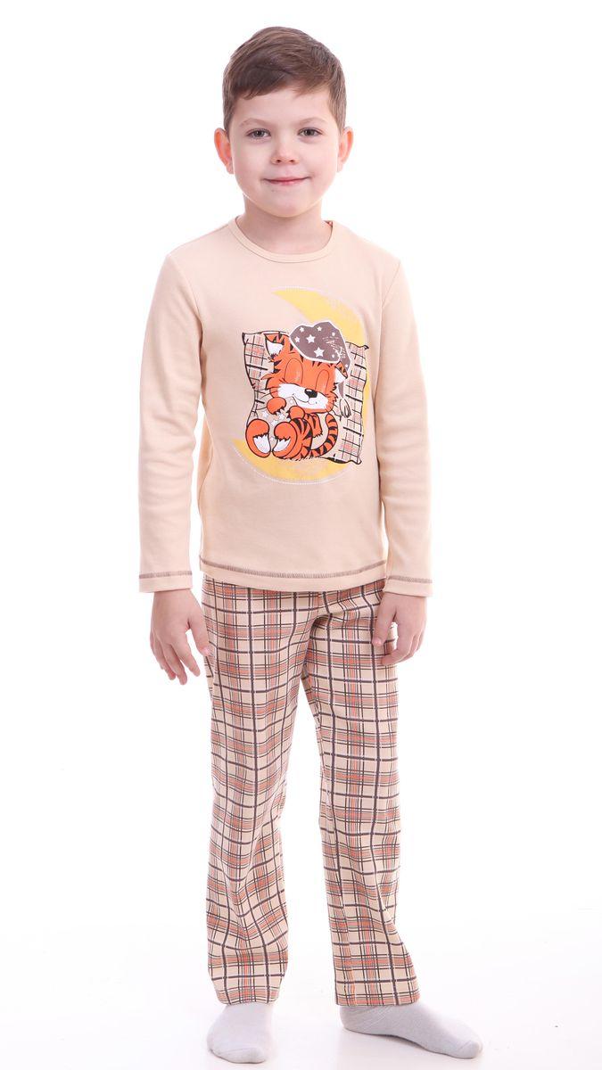 Пижама для мальчика Свiтанак, цвет: бежевый, коричневый. Р218443. Размер 92/98Р218443Красочная пижама для мальчика Свiтанак состоит из лонгслива и брюк и оформлена забавным принтом. Пижама изготовлена из натурального хлопка, она мягкая, приятная на ощупь, не сковывает движения, не сдавливает в области резинки и не натирает в области швов. Воротник лонгслива дополнен мягкой эластичной бейкой. Брюки имеют мягкую, эластичную резинку, которая не оставляет следов на коже и не стягивает живот ребенка. Пижама с ярким и современным дизайном прекрасно дополнит гардероб вашего ребенка.