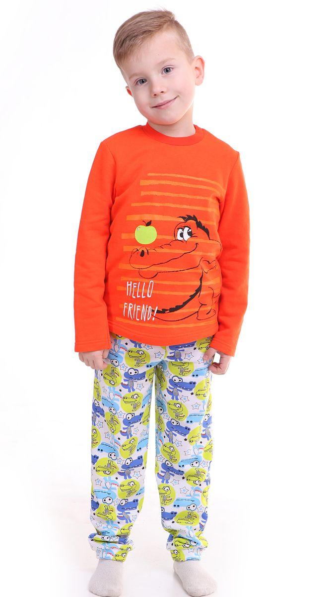 Пижама для мальчика Свiтанак, цвет: оранжевый. Р228465. Размер 92/98Р228465Утепленнаяпижама для мальчика Свiтанак состоит из лонгслива и брюк и оформлена забавным принтом. Пижама изготовлена из натурального хлопка, она мягкая, приятная на ощупь, не сковывает движения, не сдавливает в области резинки и не натирает в области швов. Воротник лонгслива дополнен широкой эластичной бейкой. Брюки имеют мягкую, эластичную резинку, которая не оставляет следов на коже и не стягивает живот ребенка. Пижама с ярким и современным дизайном прекрасно дополнит гардероб вашего ребенка.