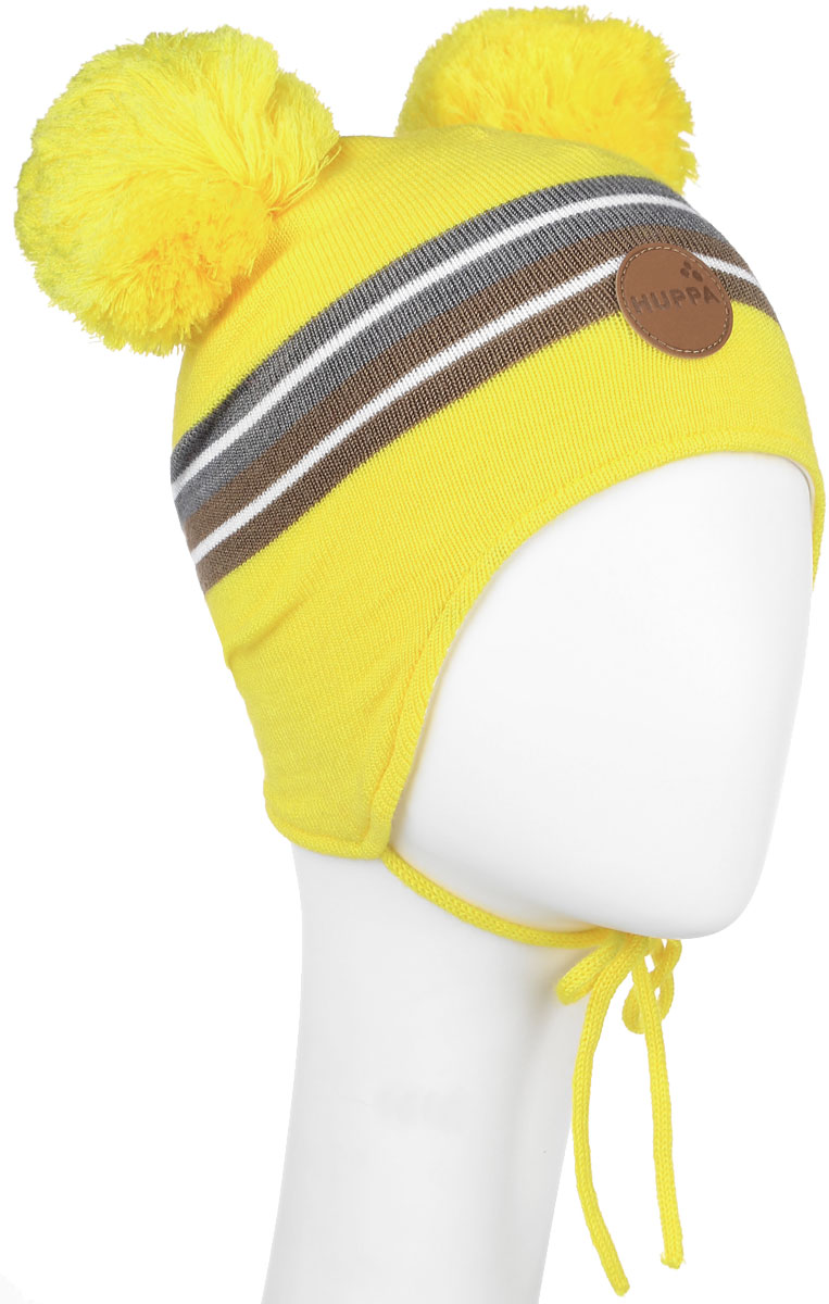 Шапка для девочки Huppa Minny, цвет: желтый. 80350000-60002. Размер 47/4980350000-60002Вязанная шапка для девочки Huppa Minny станет отличным дополнением к детскому гардеробу. Верх изделия изготовлен из акрила с добавлением шерсти, а подкладка из качественного хлопка, что обеспечивает тепло и комфорт. Благодаря эластичной вязке, шапка идеально прилегает к голове ребенка.Шапка оформлена контрастными полосками и на макушке декорирована двумя пушистыми помпонами. Изделие завязывается на шнурочки, тем самым обеспечивает тепло в холодную погоду и защищает детские ушки от холода. Дополнена шапочка нашивкой с названием бренда. Оригинальный дизайн и расцветка делают эту шапку стильным предметом детского гардероба. В ней ребенку будет тепло, уютно и комфортно. Уважаемые клиенты!Размер, доступный для заказа, является обхватом головы.
