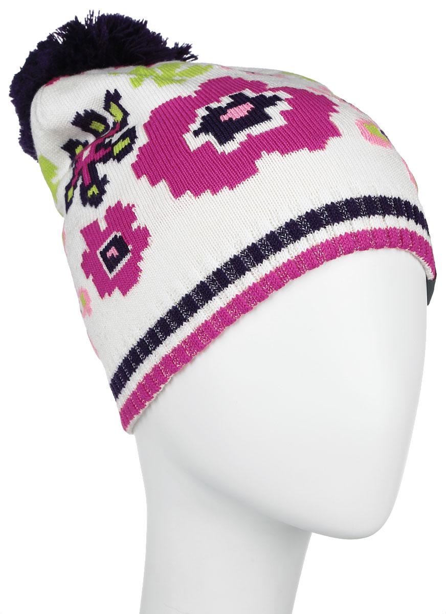 Шапка для девочки Huppa Floral, цвет: белый. 80360000-60020. Размер 5780360000-60020Вязанная шапка для девочки Huppa Floral станет отличным дополнением к детскому гардеробу. Изделие изготовлено из теплой мериносовой шерсти с добавлением акрила, что обеспечивает тепло и комфорт. Благодаря эластичной вязке, шапка идеально прилегает к голове ребенка.Шапка с пушистым помпоном украшена цветочным принтом. Спереди модель дополнена светоотражающей нашивкой.Оригинальный дизайн и расцветка делают эту шапку стильным предметом детского гардероба. В ней ребенку будет тепло, уютно и комфортно. Уважаемые клиенты!Размер, доступный для заказа, является обхватом головы.