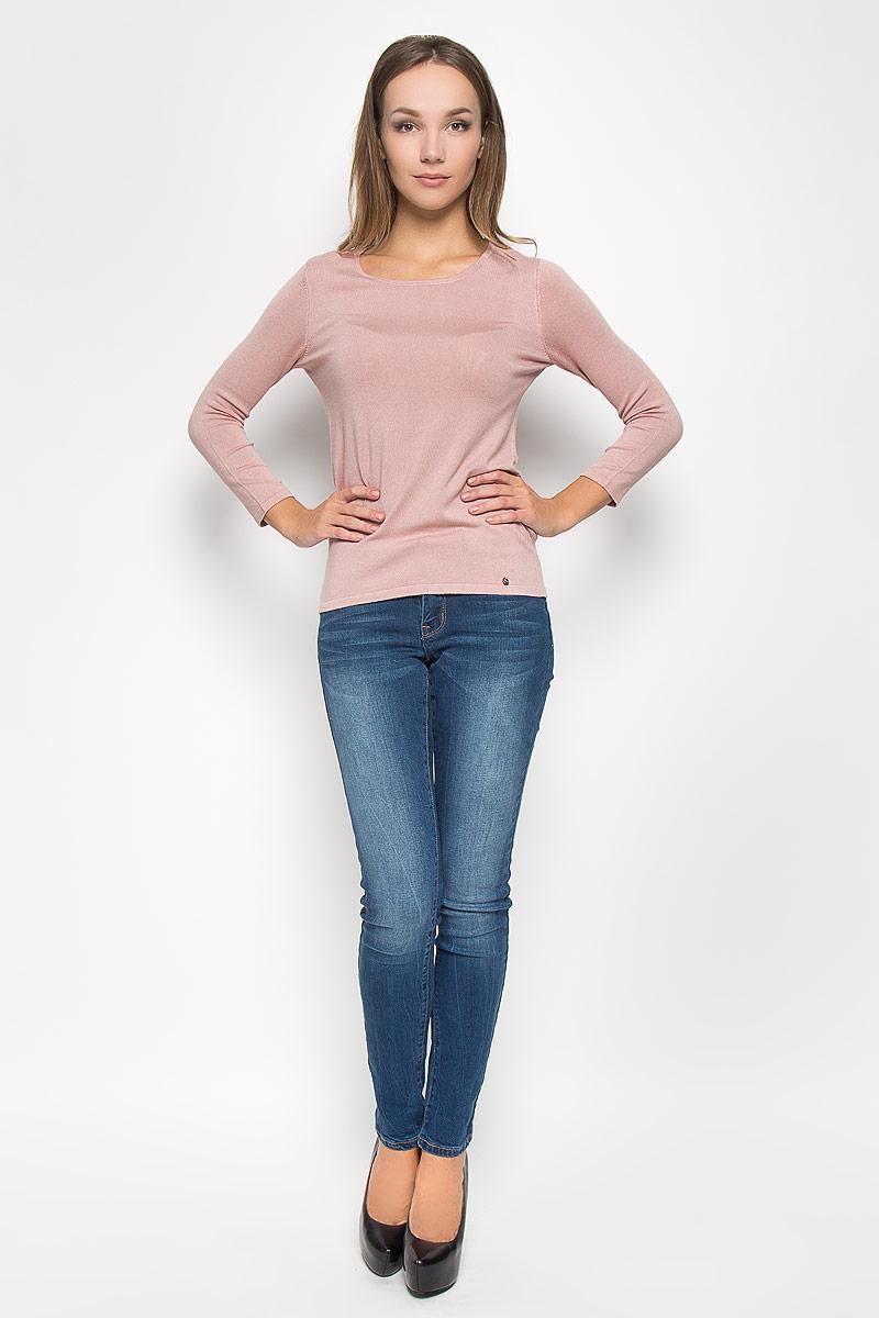 Пуловер женский Finn Flare, цвет: пепельно-розовый. A16-11101_325. Размер XL (50)A16-11101_325Потрясающий женский пуловер Finn Flare, выполненный из вискозы с добавлением нейлона, поможет создать отличный современный образ в стиле Casual. Модель с круглым вырезом горловины и рукавами длинной 7/8. Изделие оформлено металлической нашивкой с названием бренда.В таком пуловере вы будете выглядеть эффектно и стильно.