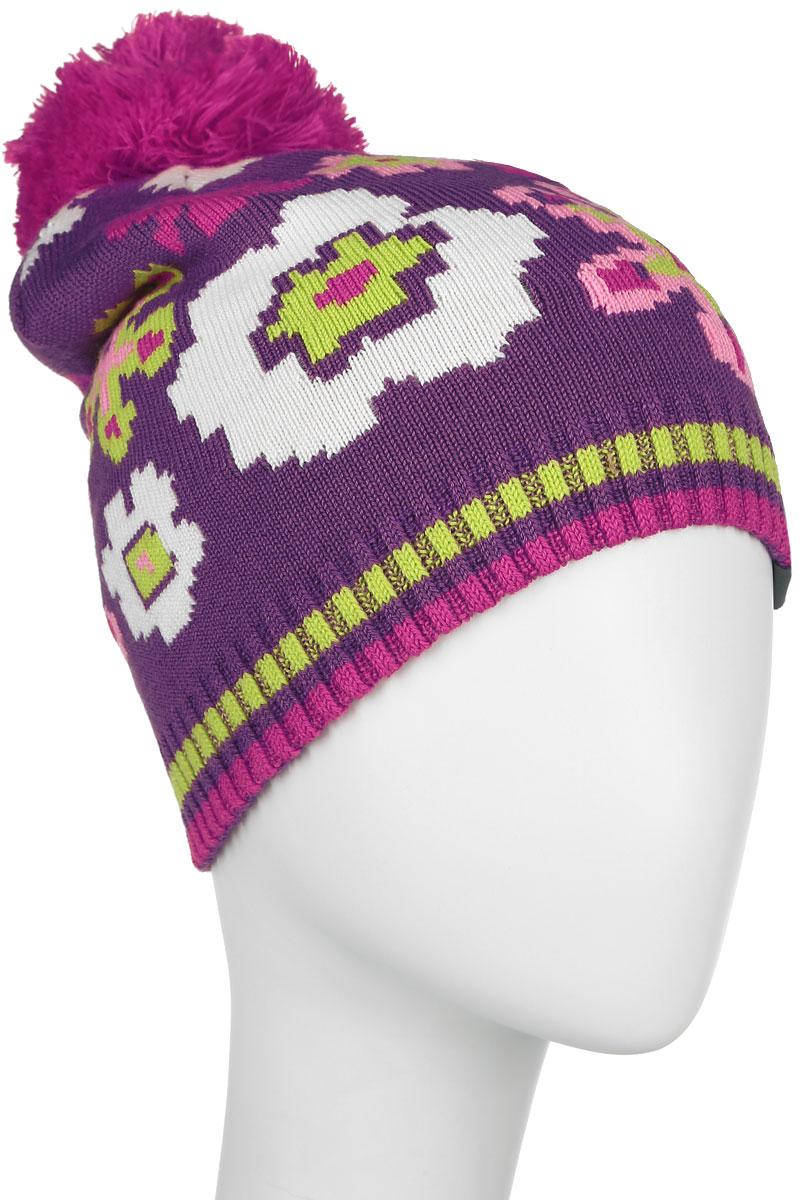 Шапка для девочки Huppa Floral, цвет: фиолетовый. 80360000-60073. Размер 51/5380360000-60073Вязанная шапка для девочки Huppa Floral станет отличным дополнением к детскому гардеробу. Изделие изготовлено из теплой мериносовой шерсти с добавлением акрила, что обеспечивает тепло и комфорт. Благодаря эластичной вязке, шапка идеально прилегает к голове ребенка.Шапка с пушистым помпоном украшена цветочным принтом. Спереди модель дополнена светоотражающей нашивкой.Оригинальный дизайн и расцветка делают эту шапку стильным предметом детского гардероба. В ней ребенку будет тепло, уютно и комфортно. Уважаемые клиенты!Размер, доступный для заказа, является обхватом головы.