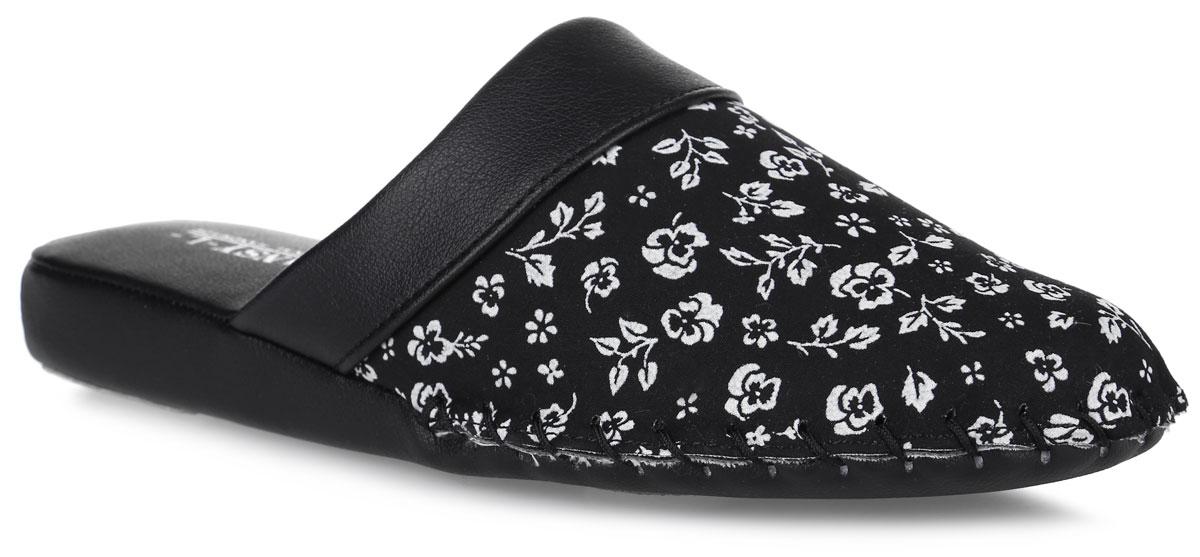 Тапки женские Pansy, цвет: черный. 8701. Размер M (37)8701_BlackДомашняя обувь от Pansy - стандарт технологий комфорта из Японии:Mould - тапки Pansy проектируется и изготавливается по технологии современной модельной обуви: многослойная подошва иобувные материалы, обеспечивают функциональность модельной обуви при весе одного тапка от 100 до max 150 г . Aerolite - технология фирмы Teijin Cordley Ltd. по изготовлению искусственной кожи с заранее заданными свойствами. Волокна аэрокапсульного волокна с включениями пузырьков воздуха выращивают с параметрами превышающие характеристики натуральной кожи по массе, гигроскопичности и износостойкости. Cool Max - сетка, используемая для быстрого отвода и испарения влаги, снижения температуры на особо нагруженных поверхностях по патенту фирмы Toray Inc. Zeomix - глубокая антибактериальная обработка ионами серебра по технологии Asahi Karuray на все время эксплуатации. Biosil - пропитка деодорантом Dow Jones Corning длительного действия эффективно нейтрализует запахи. Super Fine - грязеотталкивающее покрытие, обеспечивающее легкое удаление загрязнений влажной салфеткой. Функцию антискольжения - выполняют специальные нашивки на подошве. Тепло человеческих рук - используется при ручном соединении верхней стельки к подошве с помощью традиционной скорняжной техники. Модель выполнена из текстиля, оформленного нежным цветочным принтом, со вставкой из искусственной кожи.Удобные тапочки - незаменимая вещь в гардеробе каждой женщины!