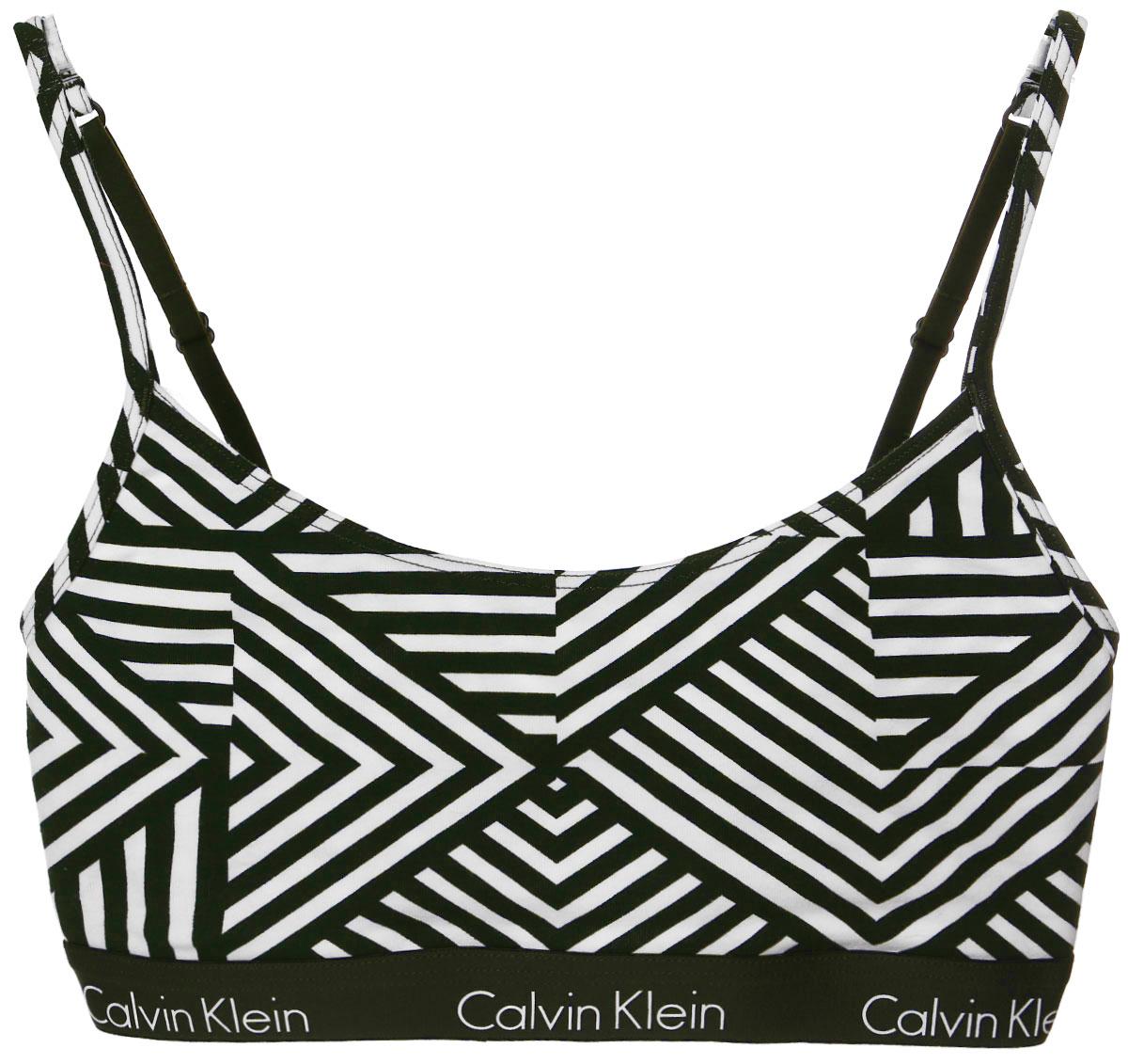 Топ-бра Calvin Klein Underwear, цвет: темно-зеленый, белый. QF1536E_IV6. Размер M (44/46)QF1536E_IV6Удобный и практичный топ-бра Calvin Klein, выполненный из высококачественного эластичного хлопка, идеально подойдет для повседневной носки, а также для активного отдыха. Модель на бретелях имеет широкий эластичный пояс, который обеспечивает бережную поддержку. Узкие несъемные бретельки надежно фиксируют топ на плечах и регулируются по длине. Топ оформлен контрастными полосками.Такая модель подарит вам комфорт в течение дня и станет отличным дополнением к вашему спортивному гардеробу.