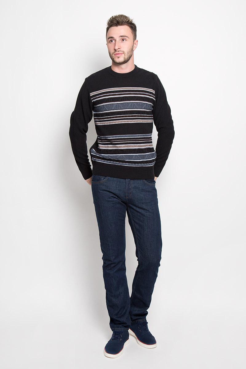 Джемпер мужской Milana Style, цвет: черный, синий, коричневый. 1640. Размер 501640Стильный мужской джемпер Finn Flare, выполненный из высококачественного материала, необычайно мягкий и приятный на ощупь, не сковывает движения, обеспечивая наибольший комфорт. Модель с круглым вырезом горловины и длинными рукавами идеально гармонирует с любыми предметами одежды и будет уместен и на отдых, и на работу. Низ изделия, горловина и манжеты связаны широкой резинкой, что предотвращает деформацию при носке. Мягкий и уютный джемпер станет прекрасным дополнением вашего гардероба.