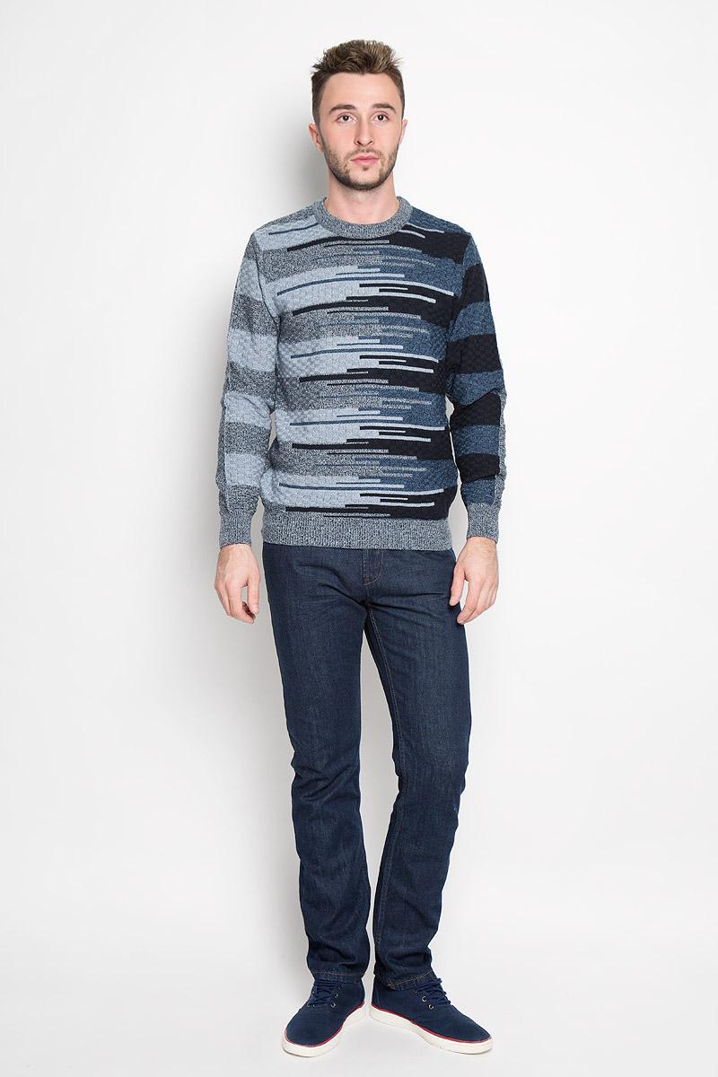 Джемпер мужской Milana Style, цвет: серый, темно-синий, голубой. 1676. Размер 541676Стильный мужской джемпер Finn Flare, выполненный из высококачественного материала, необычайно мягкий и приятный на ощупь, не сковывает движения, обеспечивая наибольший комфорт. Модель с круглым вырезом горловины и длинными рукавами идеально гармонирует с любыми предметами одежды и будет уместен и на отдых, и на работу. Низ изделия, горловина и манжеты связаны широкой резинкой, что предотвращает деформацию при носке. Мягкий и уютный джемпер станет прекрасным дополнением вашего гардероба.