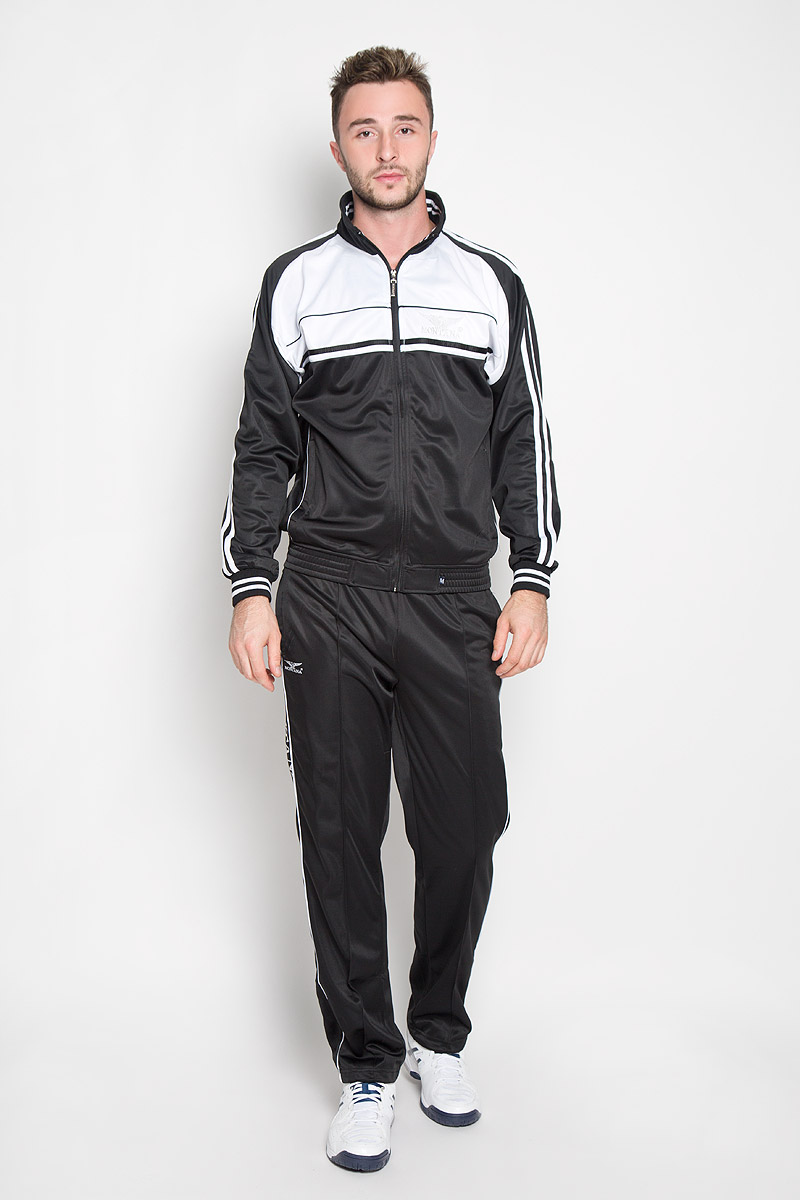 Cпортивный костюм мужской Montana, цвет: черный, белый. 27051. Размер L-80 (50-80)27051_BWМужской спортивный костюм Montana великолепно подойдет для отдыха, повседневной носки, а также для занятий спортом. Костюм включает в себя легкую ветровку и свободные брюки.Ветровка с длинными рукавами-реглан и воротником-стойкой выполнена из полиэстера и застегивается на застежку-молнию спереди. Воротник имеет трикотажную отделку, что обеспечит комфорт при носке и защиту от натирания. Эластичные трикотажные манжеты мягко обхватывают запястья, не сдавливая их. Модель дополнена двумя втачными карманами на молниях спереди. Низ изделия дополнен широкой эластичной резинкой. Брюки прямого кроя и средней посадки изготовлены из полиэстера, благодаря чему великолепно отводят влагу от тела и превосходно сидят, обеспечивая вам комфорт даже во время интенсивных тренировок.Брюки имеют широкую эластичную резинку на поясе, объем талии регулируется при помощи шнурка-кулиски с металлическими стопперами. Изделие дополнено двумя втачными карманами на молниях спереди и одним втачным карманом на молнии сзади, а также украшено принтом с изображением логотипа производителя.Этот модный и в то же время удобный спортивный костюм - настоящее воплощение комфорта. В нем вы всегда будете чувствовать себя уверенно и непременно достигнете новых спортивных высот.