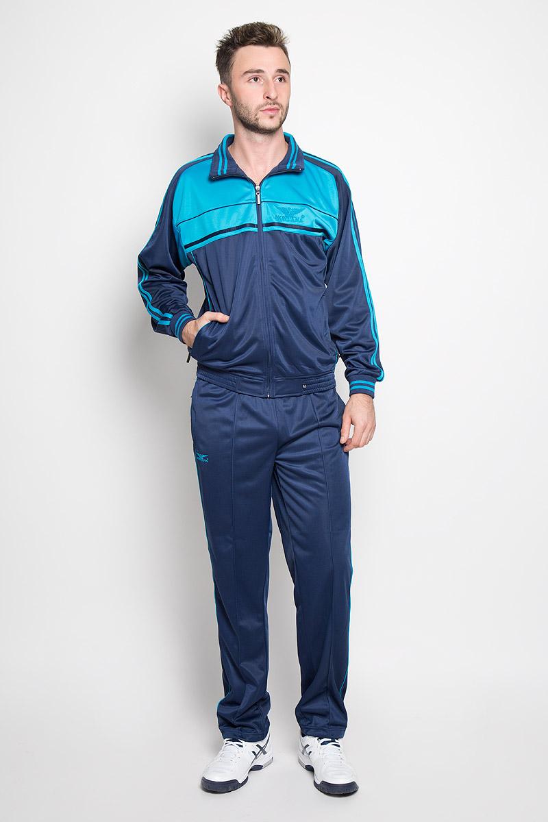 Cпортивный костюм мужской Montana, цвет: бирюзовый, темно-синий. 27051. Размер L-80 (50-80)27051_NTМужской спортивный костюм Montana великолепно подойдет для отдыха, повседневной носки, а также для занятий спортом. Костюм включает в себя легкую ветровку и свободные брюки.Ветровка с длинными рукавами-реглан и воротником-стойкой выполнена из полиэстера и застегивается на застежку-молнию спереди. Воротник имеет трикотажную отделку, что обеспечит комфорт при носке и защиту от натирания. Эластичные трикотажные манжеты мягко обхватывают запястья, не сдавливая их. Модель дополнена двумя втачными карманами на молниях спереди. Низ изделия дополнен широкой эластичной резинкой. Брюки прямого кроя и средней посадки изготовлены из полиэстера, благодаря чему великолепно отводят влагу от тела и превосходно сидят, обеспечивая вам комфорт даже во время интенсивных тренировок.Брюки имеют широкую эластичную резинку на поясе, объем талии регулируется при помощи шнурка-кулиски с металлическими стопперами. Изделие дополнено двумя втачными карманами на молниях спереди и одним втачным карманом на молнии сзади, а также украшено принтом с изображением логотипа производителя.Этот модный и в то же время удобный спортивный костюм - настоящее воплощение комфорта. В нем вы всегда будете чувствовать себя уверенно и непременно достигнете новых спортивных высот.