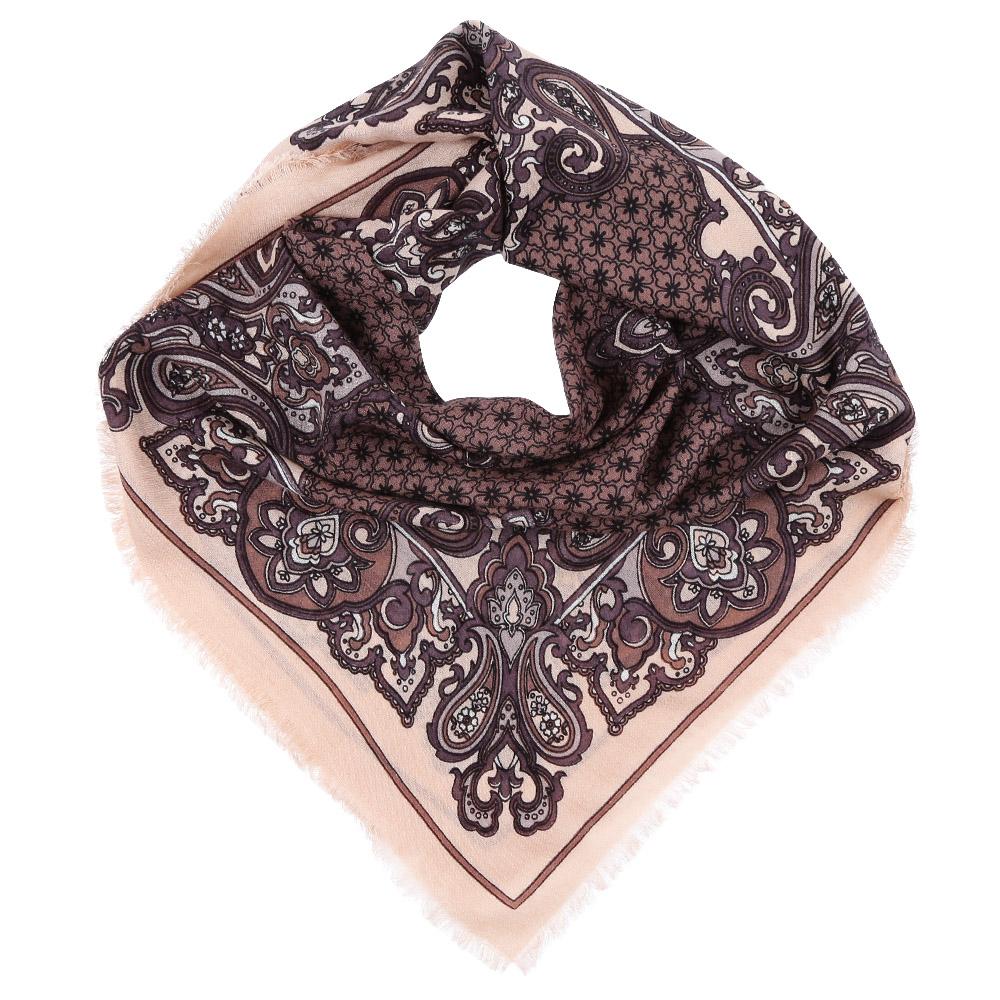 Платок Fabretti, цвет: бежевый, коричневый. YNNT1518. Размер 91 см х 91 смYNNT1518-15Стильный платок станет прекрасным дополнением к вашему образу. Выполнен из высококачественного материала и оформлен оригинальным принтом.