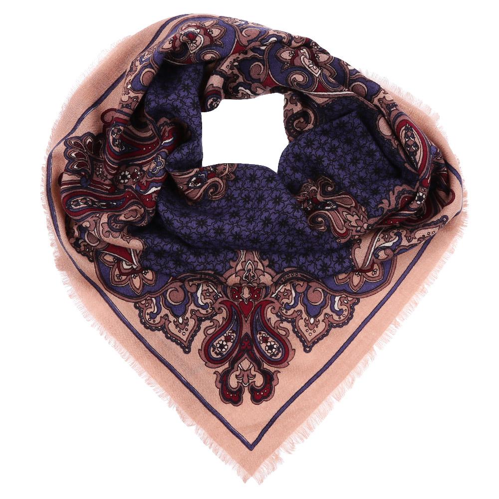 Платок Fabretti, цвет: бежевый, синий. YNNT1518. Размер 91 см х 91 смYNNT1518-12Стильный платок станет прекрасным дополнением к вашему образу. Выполнен из высококачественного материала и оформлен оригинальным принтом.
