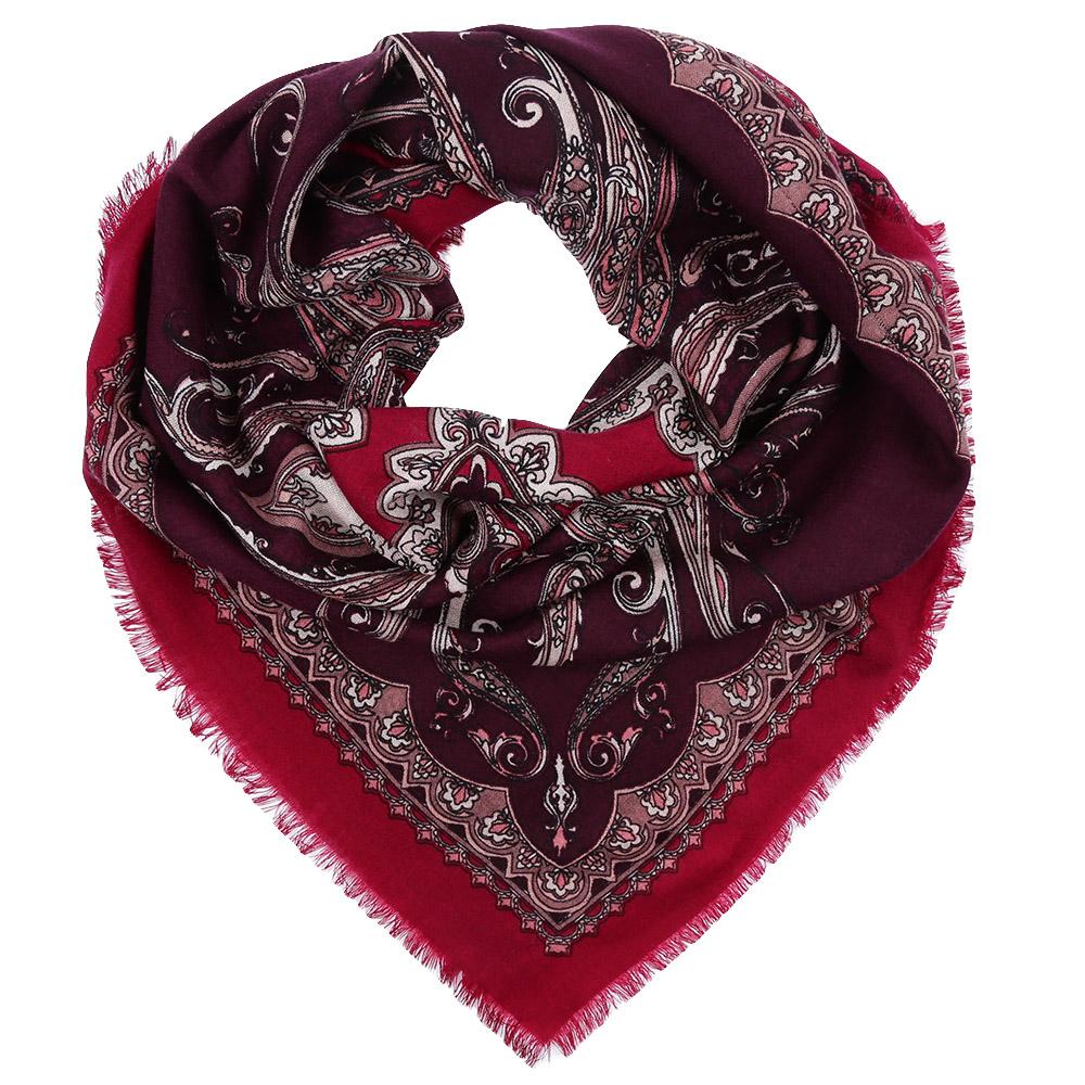 Платок Fabretti, цвет: бордовый. YNNT1512. Размер 91 см х 91 смYNNT1512-1Стильный платок станет прекрасным дополнением к вашему образу. Выполнен из высококачественного материала и оформлен оригинальным принтом.