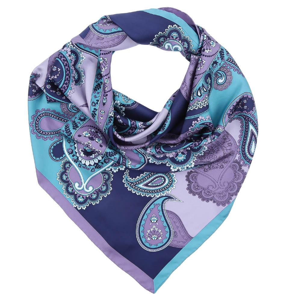 Платок Fabretti, цвет: голубой, сиреневый. CX1617-10. Размер 90 см х 90 смCX1617-10-2Стильный платок станет прекрасным дополнением к вашему образу. Выполнен из высококачественного материала и оформлен оригинальным принтом.
