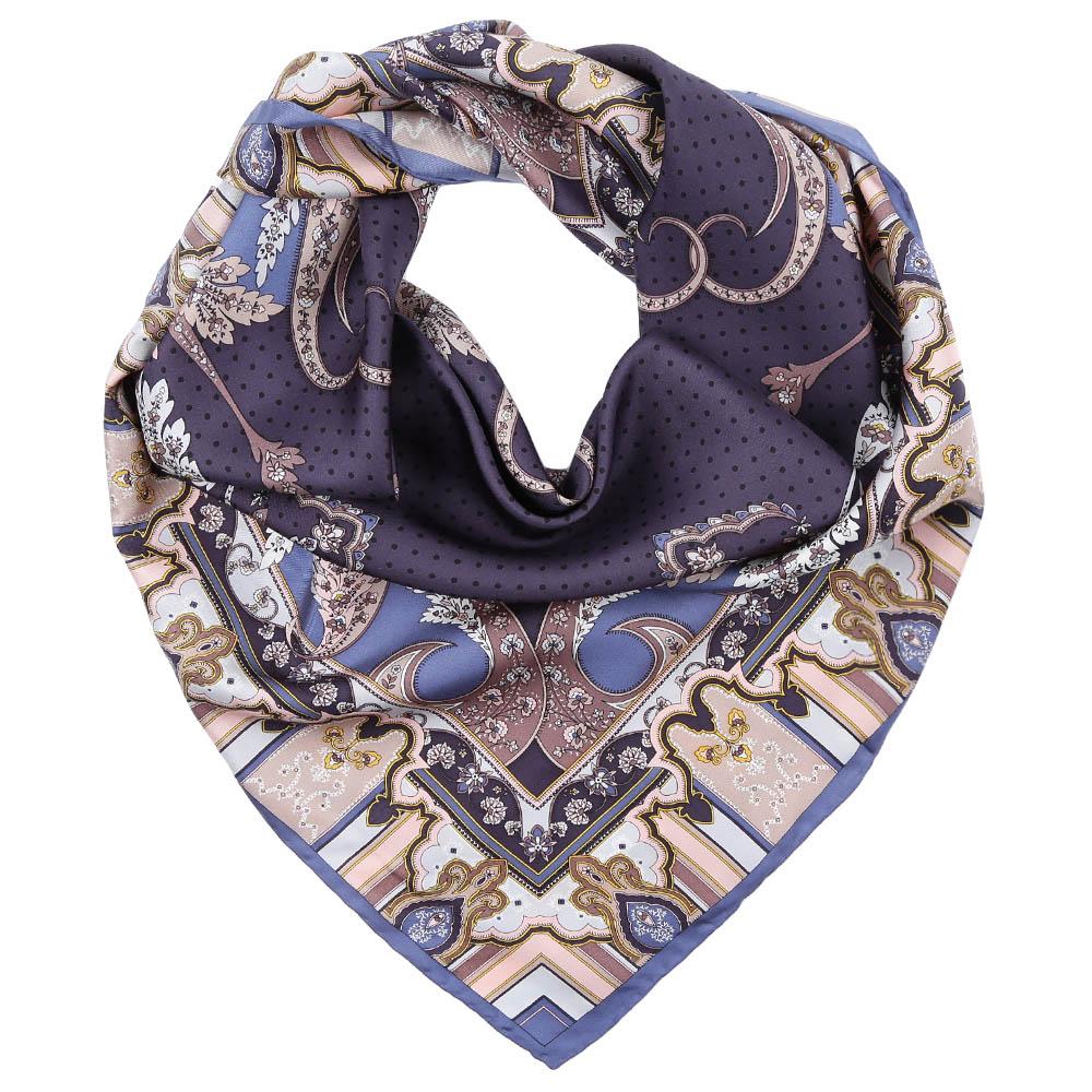 Платок Fabretti, цвет: голубой, фиолетовый. CX1617-08. Размер 90 см х 90 смCX1617-08-6Стильный платок станет прекрасным дополнением к вашему образу. Оформлен оригинальным принтом.