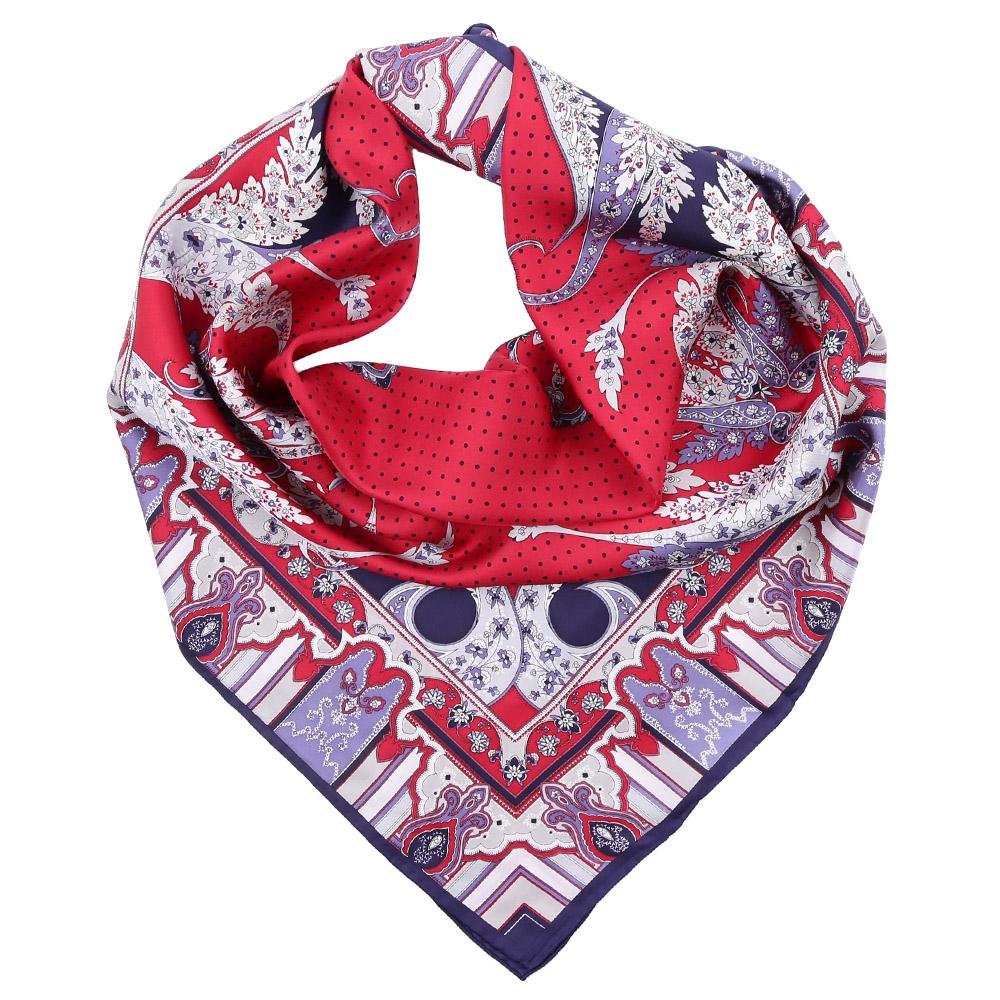 Платок Fabretti, цвет: красный, синий. CX1617-08. Размер 90 см х 90 смCX1617-08-5Стильный платок станет прекрасным дополнением к вашему образу. Оформлен оригинальным принтом.