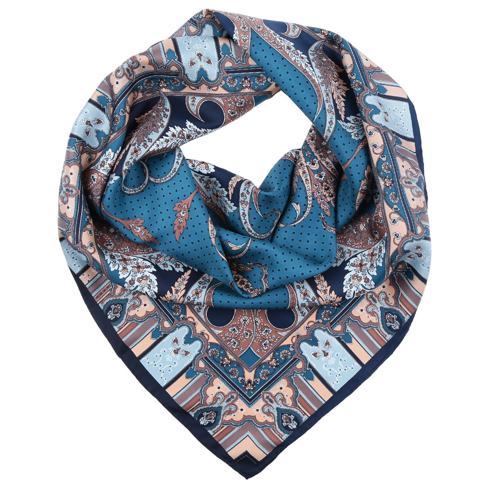 Платок Fabretti, цвет: голубой, бежевый. CX1617-08. Размер 90 см х 90 смCX1617-08-4Стильный платок станет прекрасным дополнением к вашему образу. Оформлен оригинальным принтом.