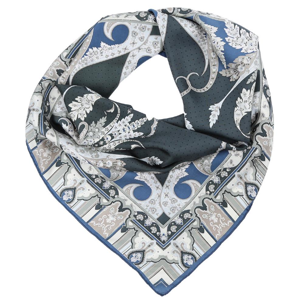 Платок Fabretti, цвет: серый, голубой. CX1617-08. Размер 90 см х 90 смCX1617-08-3Стильный платок станет прекрасным дополнением к вашему образу. Оформлен оригинальным принтом.