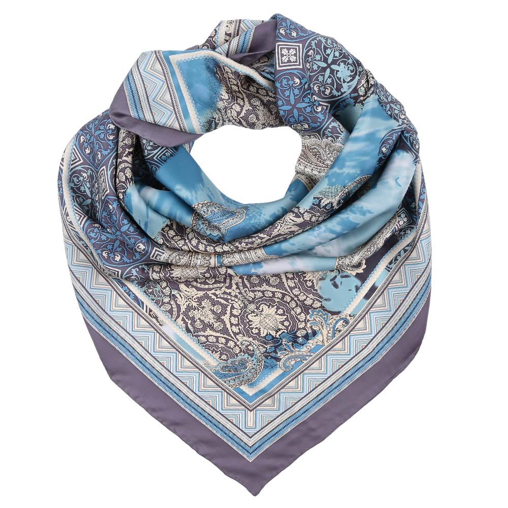 Платок Fabretti, цвет: серый, голубой. CX1617-07. Размер 90 см х 90 смCX1617-07-1Стильный платок станет прекрасным дополнением к вашему образу. Оформлен оригинальным принтом.