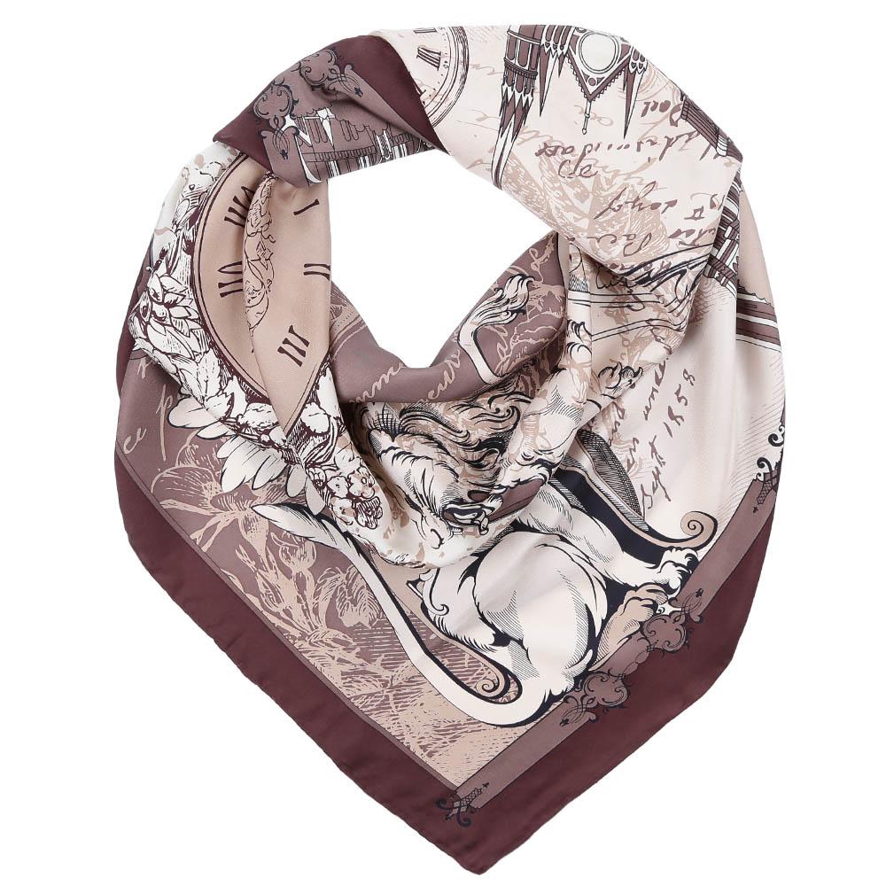 Платок Fabretti, цвет: коричневый, молочный. CX1617-05. Размер 90 см х 90 смCX1617-05-1Стильный платок станет прекрасным дополнением к вашему образу. Оформлен оригинальным принтом.