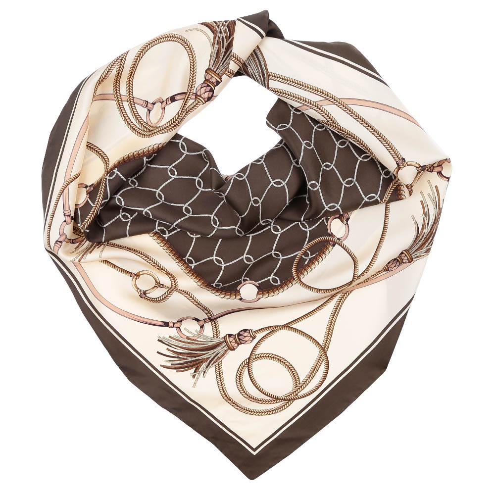 Платок Fabretti, цвет: бежевый, коричневый. CX1617-04. Размер 90 см х 90 смCX1617-04-6Стильный платок станет прекрасным дополнением к вашему образу. Оформлен оригинальным принтом.