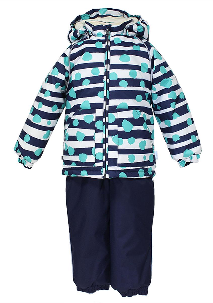 Комплект детский Huppa Avery1: куртка, полукомбинезон, цвет: темно-синий, белый, бирюзовый. 41780130-63386. Размер 8641780130_63386Теплый комплект одежды Huppa Avery1, состоящий из куртки и полукомбинезона, станет отличным дополнением к детскому гардеробу. Комплект изготовлен из водоотталкивающей и ветрозащитной ткани. Ткань собратной стороны покрыта слоем полиуретана с микропорами, который препятствует прохождению воды иветра, но в то же время позволяет испаряться влаге, выделяемой телом. Материал имеет высокие показатели износостойкости. Сплетения волокон в тканях выполнены по специальной технологии, которая придает ткани прочность и предохраняет от истирания. В качестве наполнителя используется HuppaTerm - высокотехнологичный легкий синтетический утеплитель нового поколения. Уникальная структура микроволокон не позволяет проникнуть внутрь холодному воздуху, в то же время удерживая теплый между волокнами, обеспечивая высокую теплоизоляцию. Подкладка выполнена из мягкой и приятной на ощупь фланелевой ткани. Основные швы проклеены водостойкой лентой. Изделие легко стирается и быстро сохнет. Куртка с капюшоном, воротником-стойкой и рукавами-реглан застегивается на пластиковую молнию сзащитой подбородка. Модель дополнительно оснащена внутренней ветрозащитной планкой. Капюшон в формеконуса, присборенный по бокам, пристегивается к куртке при помощи кнопок. На рукавах предусмотрены эластичные манжеты, препятствующие проникновению холодного воздуха. Спереди расположены два накладных кармашка. Оформлено изделие принтом в полоску.Полукомбинезон спереди застегивается на пластиковую молнию и имеет внутреннюю ветрозащитнуюпланку. Модель дополнена эластичными наплечными лямками, регулируемыми по длине. На спинке по линииталии полукомбинезон присборен на широкую резинку, которая позволяет надежно заправить водолазку илисвитер. Снизу брючин имеются эластичные манжеты и съемные трикотажные штрипки, надевающиеся на ступню ине дающие комбинезону ползти вверх. Светоотражающие элемент