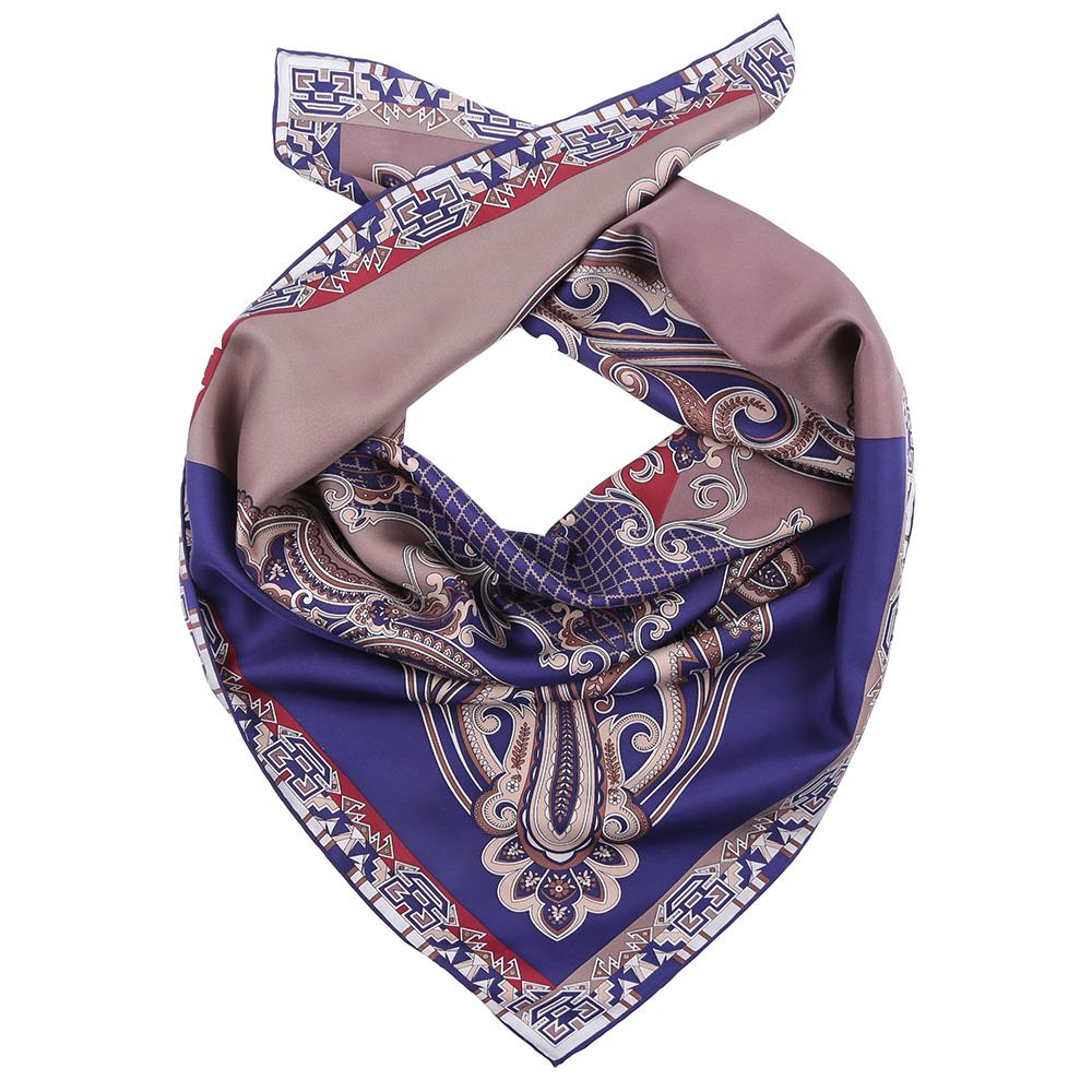 Платок Fabretti, цвет: синий, серый. CX1617-02. Размер 90 см х 90 смCX1617-02-7Стильный платок станет прекрасным дополнением к вашему образу. Оформлен оригинальным принтом.
