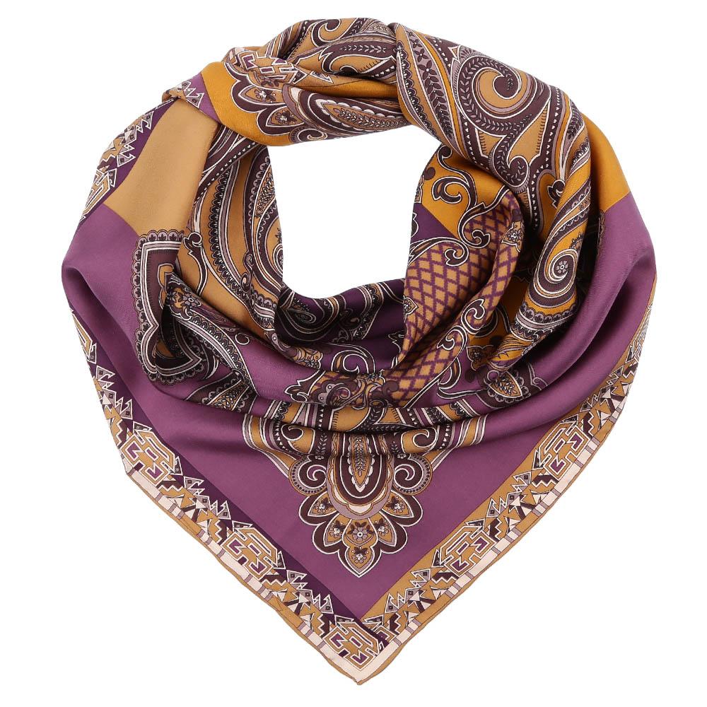Платок Fabretti, цвет: иреневый, бежевый. CX1617-02. Размер 90 см х 90 смCX1617-02-1Стильный платок станет прекрасным дополнением к вашему образу. Оформлен оригинальным принтом.