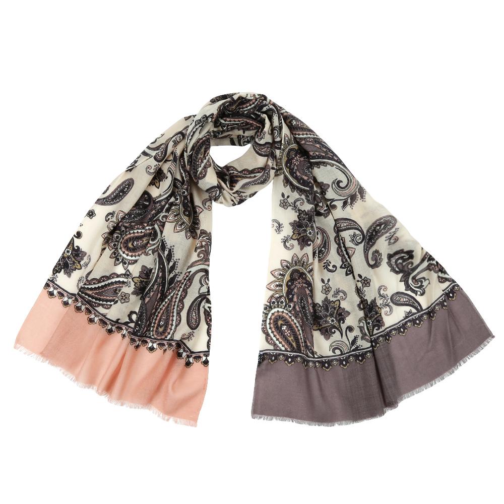 Шарф женский Leo Ventoni, цвет: серый, бежевый. YNNT1626. Размер 70 см х 182 смYNNT1626-93Стильный шарф поможет внести живость в любой образ, подарит уют и согреет от холодного ветра. Выполнен из высококачественного материала и оформлен оригинальным принтом.
