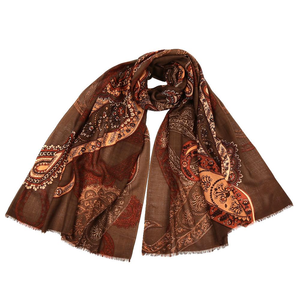 Шарф женский Fabretti, цвет: коричневый. YNNT16197. Размер 70 см х 182 смYNNT16197-5Стильный шарф поможет внести живость в любой образ, подарит уют и согреет от холодного ветра. Выполнен из высококачественного материала и оформлен оригинальным принтом.