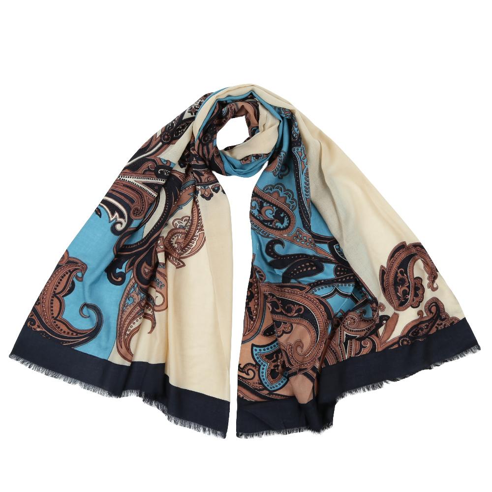 Палантин женский Fabretti, цвет: бежевый, голубой. YNNT15299. Размер 70 см х 182 смYNNT15299-2Элегантный палантин Fabretti изготовлен из 100% шерсти. Оформлена модель оригинальным принтом.