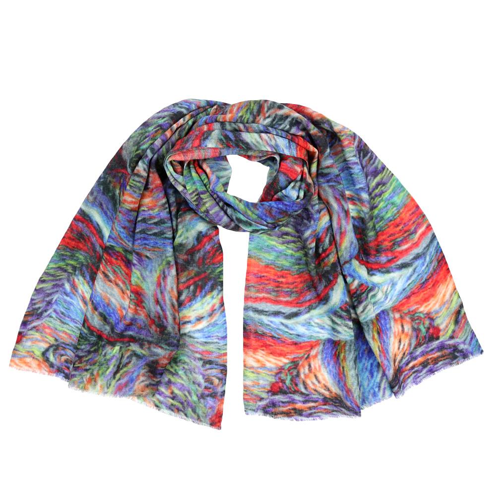 Шарф женский Leo Ventoni, цвет: голубой, красный. VT-535/B. Размер 70 см х 180 смVT-535/B-1Стильный шарф поможет внести живость в любой образ, подарит уют и согреет от холодного ветра. Выполнен из высококачественного материала и оформлен оригинальным принтом.