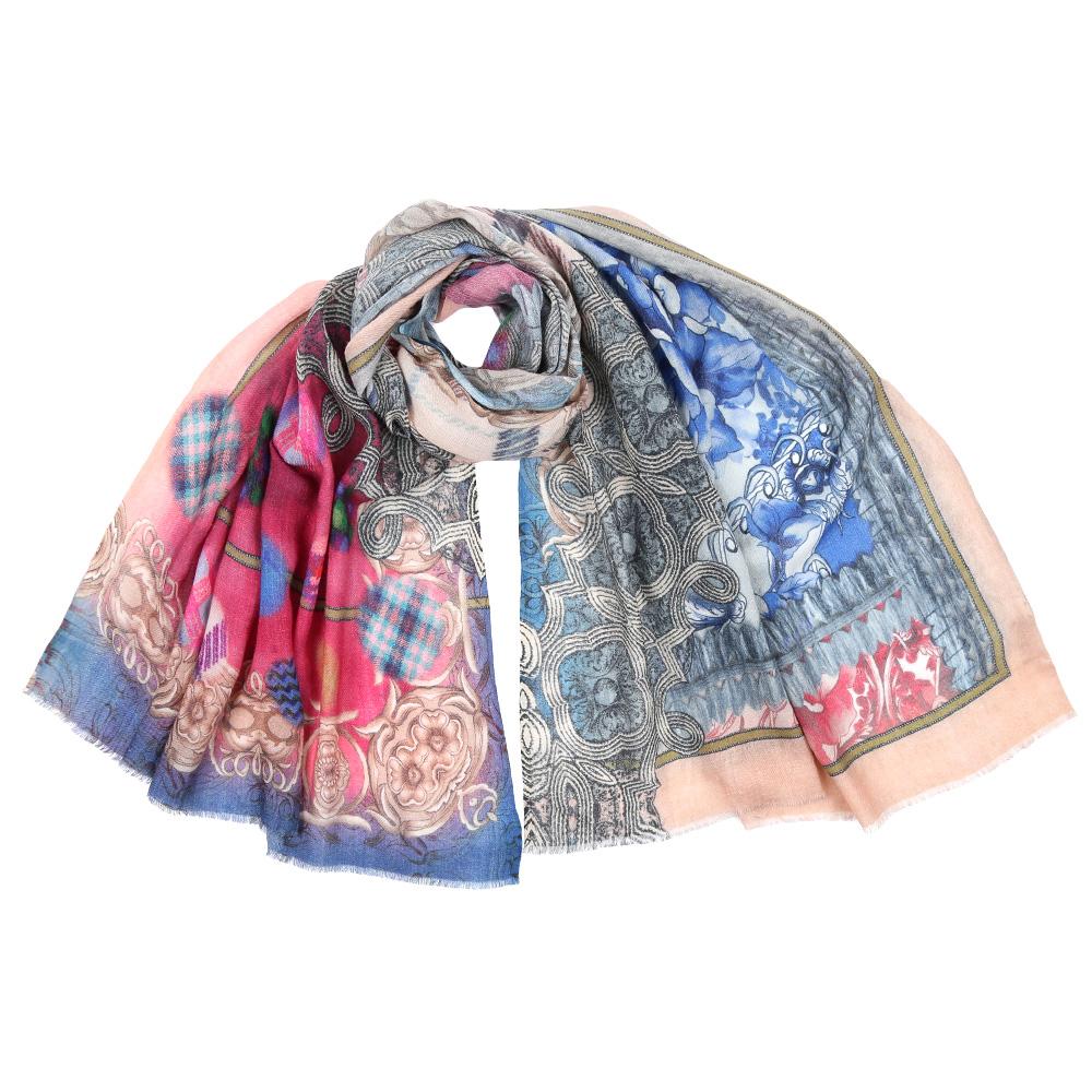 Шарф женский Leo Ventoni, цвет: голубой, розовый. SM-1362. Размер 70 см х 180 смSM-1362-4Стильный шарф поможет внести живость в любой образ, подарит уют и согреет от холодного ветра. Выполнен из высококачественного материала и оформлен оригинальным принтом.