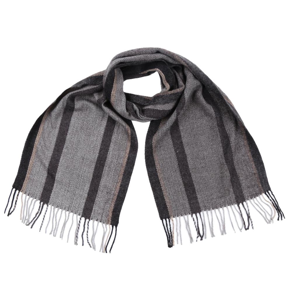Шарф мужской Fabretti, цвет: серый, черный. GY3297. Размер 30 см х 186 смGY3297Стильный шарф Fabretti поможет внести живость в любой образ, подарит уют и согреет от холодного ветра. Теплый шарф дополнен длинной бахромой.