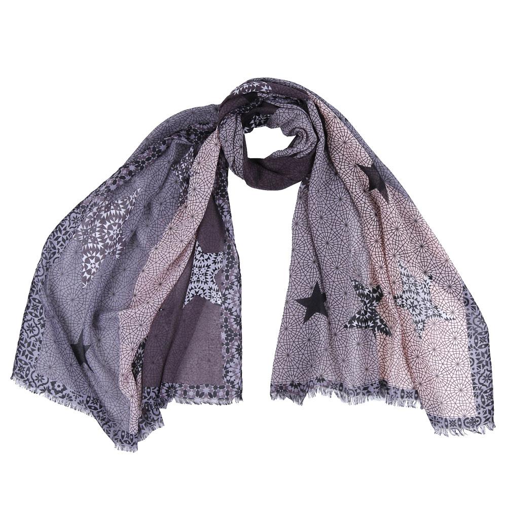 Шарф женский Fabretti, цвет: серый. FR1510. Размер 75 см х 190 смFR1510-1Стильный шарф поможет внести живость в любой образ, подарит уют и согреет от холодного ветра. Выполнен из высококачественного материала и оформлен оригинальным принтом.