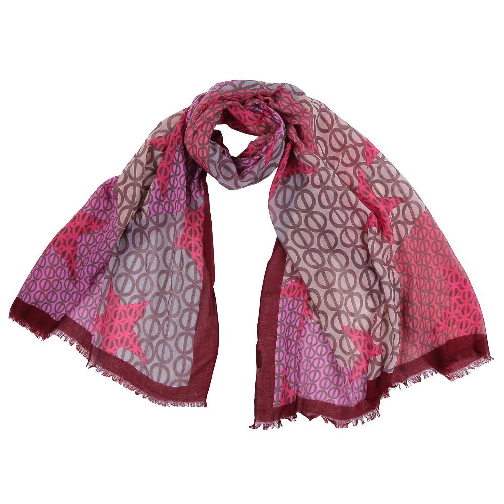 Шарф женский Fabretti, цвет: розовый, серый. FR1505. Размер 100 см х 190 смFR1505-2Стильный шарф поможет внести живость в любой образ, подарит уют и согреет от холодного ветра. Выполнен из высококачественного материала и оформлен оригинальным принтом.