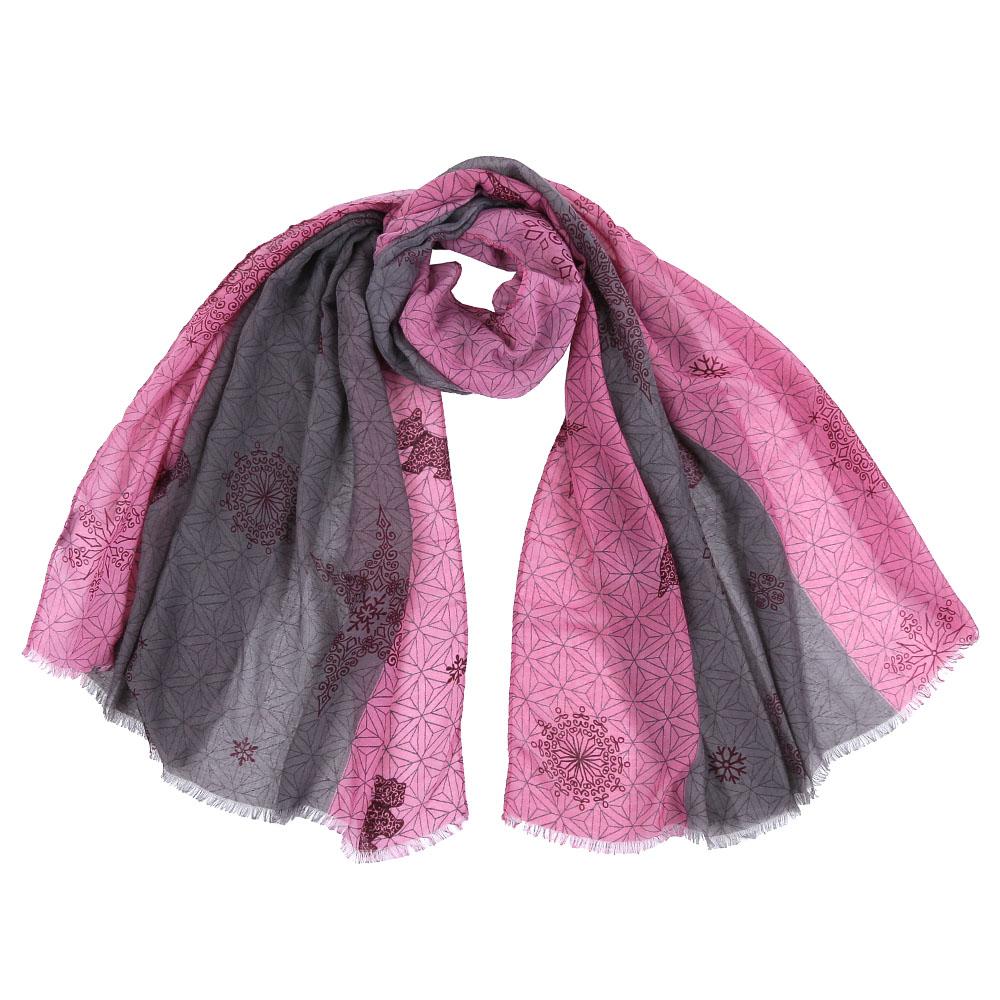 Шарф женский Fabretti, цвет: розовый, серый. FR1504. Размер 75 см х 190 смFR1504-1Стильный шарф поможет внести живость в любой образ, подарит уют и согреет от холодного ветра. Выполнен из высококачественного материала и оформлен оригинальным принтом.