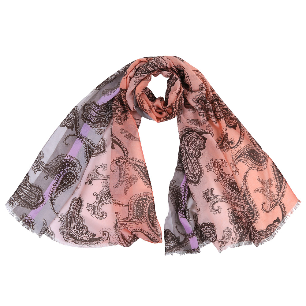Шарф женский Fabretti, цвет: коралловый, серый. FR1501. Размер 75 см х 190 смFR1501-3Стильный шарф поможет внести живость в любой образ, подарит уют и согреет от холодного ветра. Выполнен из высококачественного материала и оформлен оригинальным принтом.