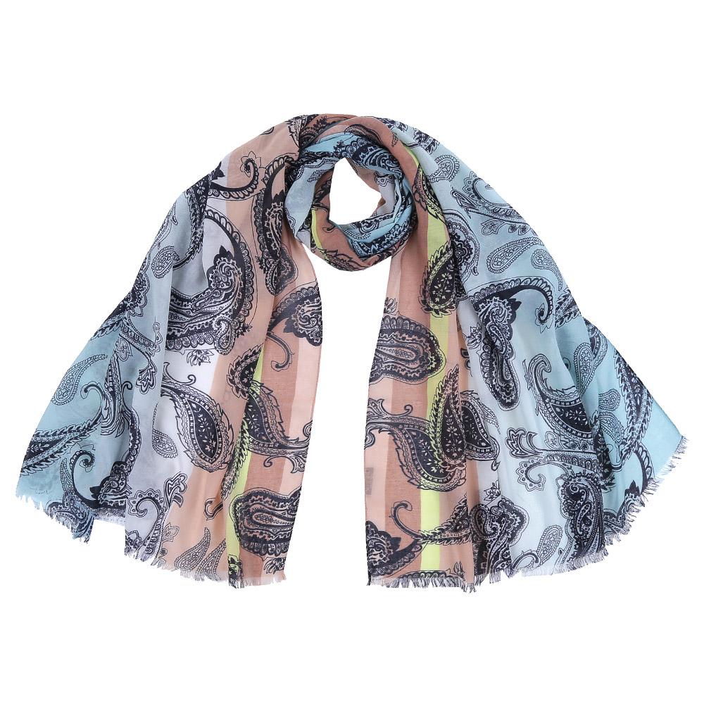 Шарф женский Fabretti, цвет: голубой, бежевый. FR1501. Размер 75 см х 190 смFR1501-2Стильный шарф поможет внести живость в любой образ, подарит уют и согреет от холодного ветра. Выполнен из высококачественного материала и оформлен оригинальным принтом.