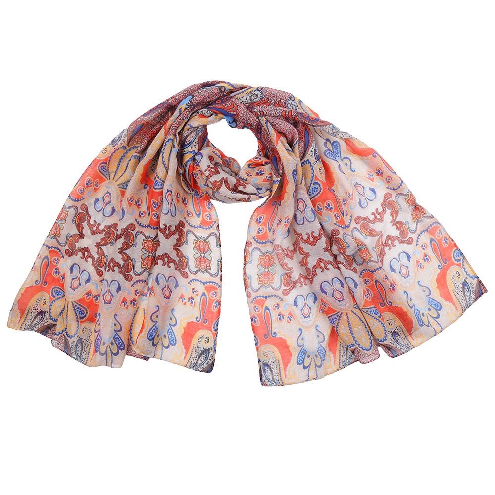 Шарф женский Fabretti, цвет: оранжевый, голубой. 151559. Размер 85 см х 186 см151559-1Стильный шарф поможет внести живость в любой образ, подарит уют и согреет от холодного ветра. Выполнен из высококачественного материала и оформлен оригинальным принтом.