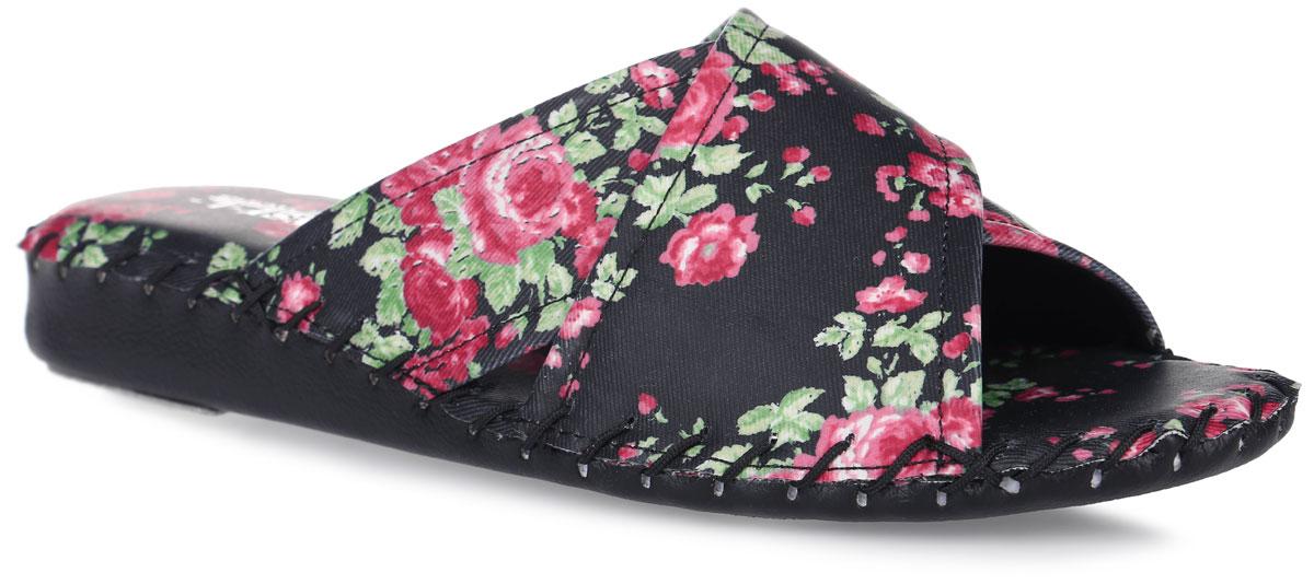 Тапки женские Pansy, цвет: черный. 9340. Размер L (38)9340_BlackДомашняя обувьот Pansy - стандарт технологий комфорта из Японии:Mould - тапки Pansy проектируется и изготавливается по технологии современной модельной обуви: многослойная подошва и обувные материалы, обеспечивают функциональность модельной обуви при весе одного тапка от 100 до max 150 г . 3 Point - японская ортопедическая подошва снижает нагрузку на основные опорные точки, уменьшает разогрев стопы и поддерживает ее в оптимальном положении. Aerolite - технология фирмы Teijin Cordley Ltd. по изготовлению искусственной кожи с заранее заданными свойствами. Волокна аэрокапсульного волокна с включениями пузырьков воздуха выращивают с параметрами превышающие характеристики натуральной кожи по массе, гигроскопичности и износостойкости. Cool Max - сетка, используемая для быстрого отвода и испарения влаги, снижения температуры на особо нагруженных поверхностях по патенту фирмы Toray Inc. Zeomix - глубокая антибактериальная обработка ионами серебра по технологии Asahi Karuray на все время эксплуатации.Biosil - пропитка деодорантом Dow Jones Corning длительного действия эффективно нейтрализует запахи. Super Fine - грязеотталкивающее покрытие, обеспечивающее легкое удаление загрязнений влажной салфеткой. Функцию антискольжения - выполняют специальные нашивки на подошве.Тепло человеческих рук - используется при ручном соединении верхней стельки к подошве с помощью традиционной скорняжной техники. Модель выполнена из искусственной кожи и оформлена цветочным принтом. Вдоль ранта модельоформлена внешним крупным швом.Такие тапки обеспечат комфорт и уют.
