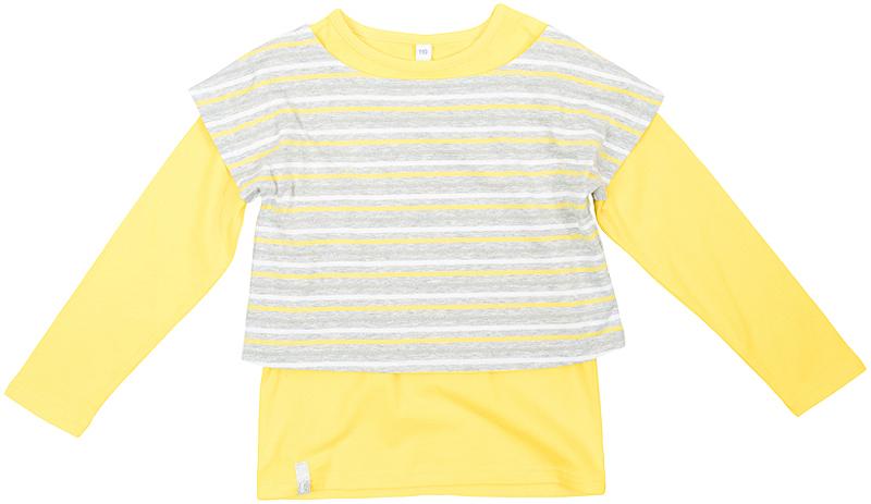 Лонгслив для девочки PlayToday, цвет: желтый, серый. 362163. Размер 128362163Яркий твинсет для девочки выполнен из эластичного хлопка.Состоит из двух моделей - яркой однотонной футболки с длинными рукавами и полосатого топа, которые можно носить по отдельности или вместе, создавая стильные сочетания.