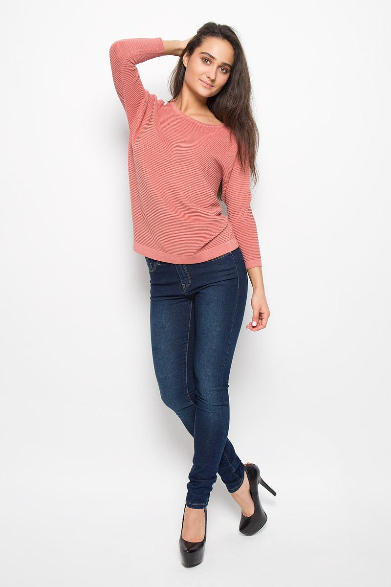 Джемпер женский Sela Casual, цвет: темно-розовый. JR-114/349-6333. Размер XXL (52)JR-114/349-6333Модный женский джемпер Sela Casual, изготовленный из вискозы, хлопка и нейлона, приятный наощупь, не сковывает движений и обеспечивает комфорт. Модель с круглым вырезом горловины и рукавами 7/8 идеально подойдет для созданиясовременного образа в стиле Casual. Модель оформлена оригинальной вязкой. Этот джемпер послужит отличным дополнением к вашему гардеробу.