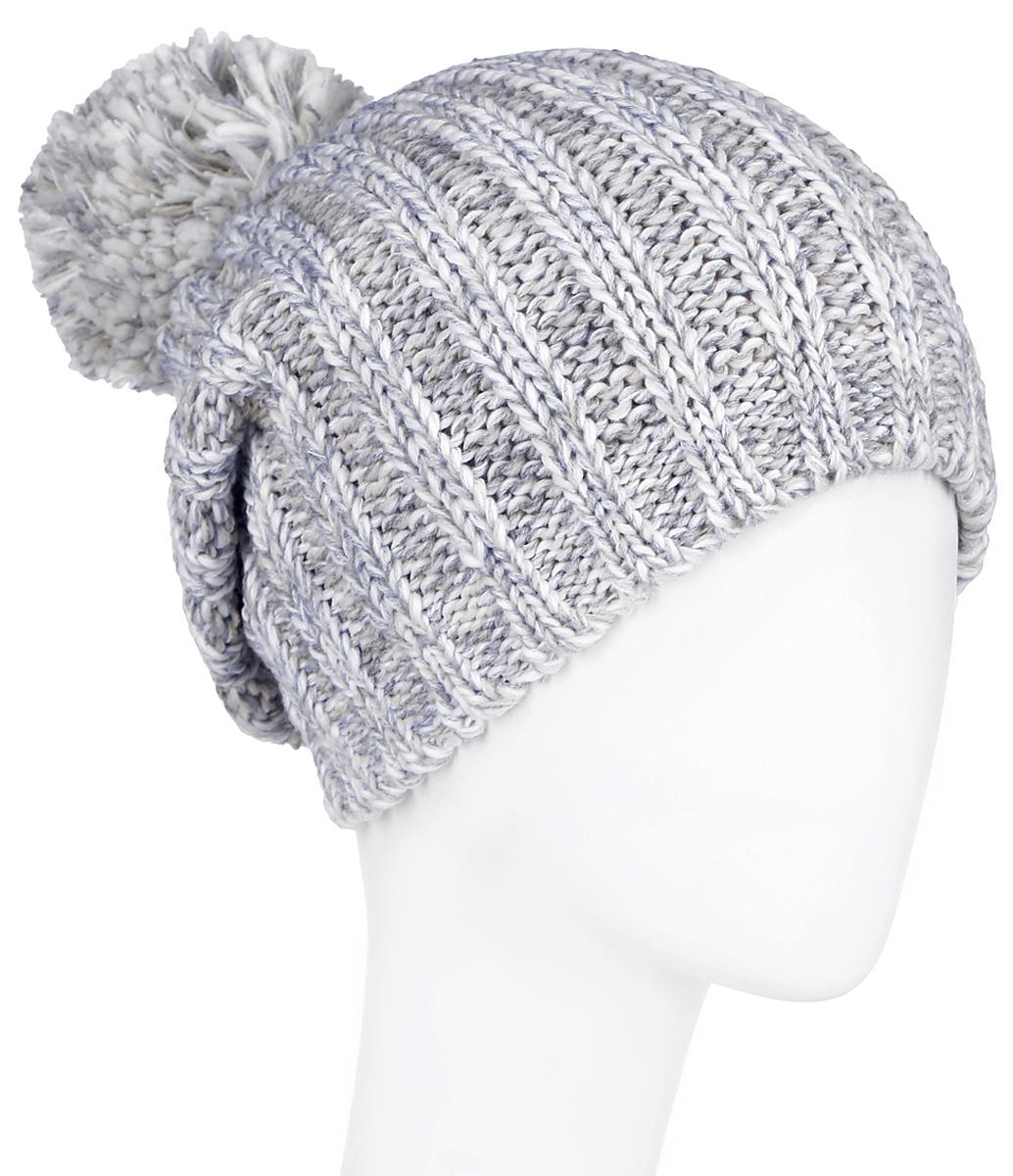 Шапка женская Finn Flare, цвет: молочный, серый. A16-32121_201. Размер 56A16-32121_201Стильная женская шапка Finn Flare дополнит ваш наряд и не позволит вам замерзнуть в холодное время года.Шапка выполнена из высококачественной, комбинированной пряжи, что позволяет ей великолепно сохранять тепло и обеспечивает высокую эластичность и удобство посадки. Изделие дополнено теплой флисовой подкладкой. Модель с удлиненной макушкой оформлена оригинальным узором и дополнена пушистым помпоном. Такая шапка станет модным и стильным дополнением вашего гардероба. Она согреет вас и позволит подчеркнуть свою индивидуальность!Уважаемые клиенты!Размер, доступный для заказа, является обхватом головы.