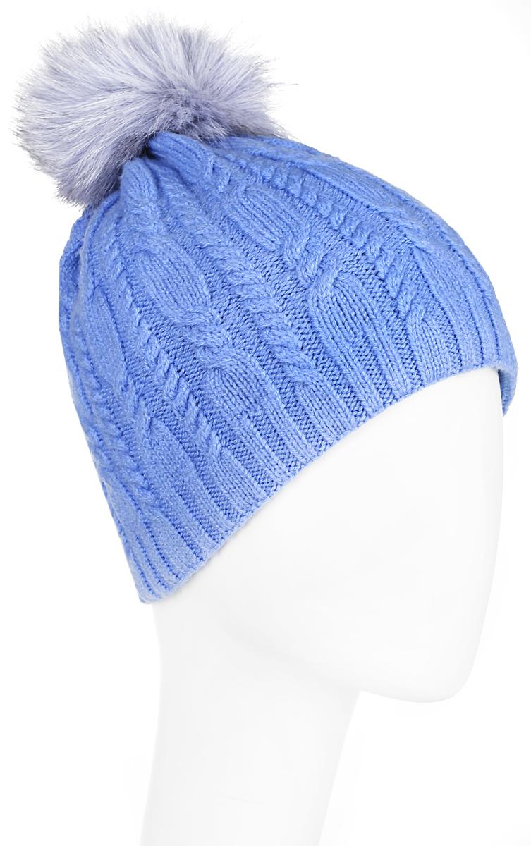 Шапка женская Finn Flare, цвет: голубой. A16-11152_138. Размер 56A16-11152_138Стильная женская шапка Finn Flare дополнит ваш наряд и не позволит вам замерзнуть в холодное время года. Шапка выполнена из высококачественной, комбинированной пряжи, что позволяет ей великолепно сохранять тепло и обеспечивает высокую эластичность и удобство посадки. Изделие дополнено теплой флисовой подкладкой.Модель оформлена оригинальным узором и дополнена пушистым помпоном из меха песца. Такая шапка станет модным и стильным дополнением вашего гардероба. Она согреет вас и позволит подчеркнуть свою индивидуальность! Уважаемые клиенты!Размер, доступный для заказа, является обхватом головы.